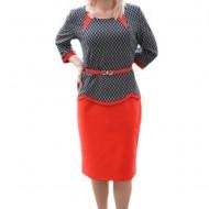 Rochie chic si in tendinte tip costum rosu-negru, masura mare