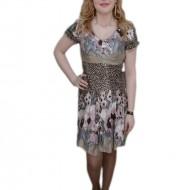 Rochie cu imprimeu animal-print, nuanta de maro, fermoar