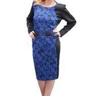 Rochie cu maneca lunga, neagra cu model de flori bleumarin
