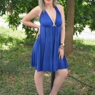 Rochie cu sclipici, de culoare albastra, din material elastic