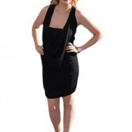 Rochie de club, neagra simpla, cu spatele din dantela florala