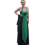 Rochie de gala aparte, lungime maxi, model negru combinat cu verde