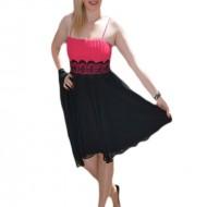 Rochie de gala scurta, cu fusta din voal negru si top plisat roz