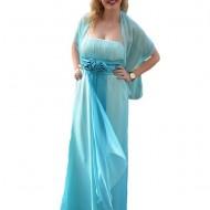 Rochie de gala speciala, intr-un degradeu placut, cu nuante de albastru