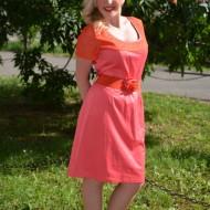 Rochie de ocazie, cu dantela, in nuanta de rosu