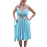 Rochie de ocazie, nuanta de albastru deschis, cu insertii de strass-uri