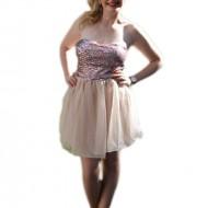 Rochie de ocazie, scurta, de culoare plamanie cu paiete marunte