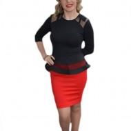 Rochie de ocazie tip costum cu peplum, culoare negru cu rosu