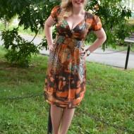 Rochie de primava-vara, material fin, culoare maro