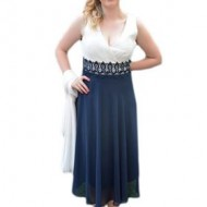 Rochie de seara, de lungime medie, bleumarin cu alb