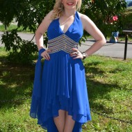 Rochie de seara lunga, albastru regal cu trena, insertii de voal si strasuri aurii