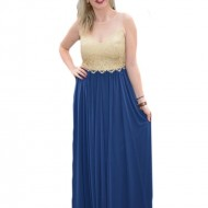 Rochie de seara lunga, aurie cu bleumarin, model superb