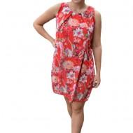 Rochie de vara Aase cu aplicatii de voal si imprimeu floral,nuanta de rosu