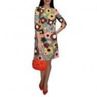Rochie de zi cu design floral,nuanta gri