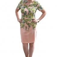 Rochie de zi cu imprimeu cu fluturi mari pe fond corai