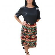 Rochie de zi cu imprimeu traditional,culoarea neagra