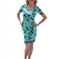 Rochie de zi, de culoare turcoaz, cu imprimeu, model cambrat