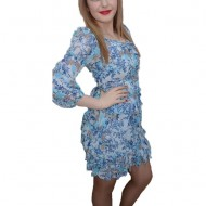 Rochie de zi din voal fin cu imprimeu albastru, din volanase late