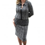 Rochie de zi, gri, material cu aspect tricotat si piele ecologica