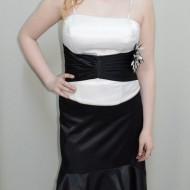 Rochie deosebita de ocazie, saten, combinatia clasica negru-alb
