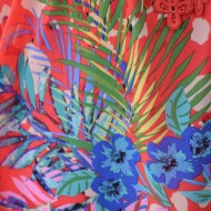 Rochie deosebita de vara, nuanta corai cu flori mari colorate