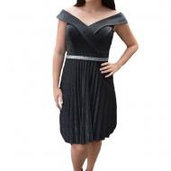 Rochie eleganta Aisha plisata,nuanta de negru