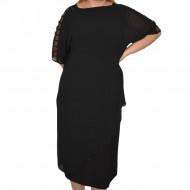 Rochie eleganta Alondra din voal ,aplicatii de strasuri,nuanta de negru