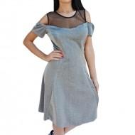 Rochie eleganta , argintie din material fin si tul