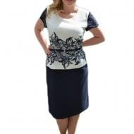 Rochie eleganta de culoare alba cu design dantelat bleumarin