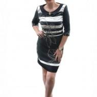 Rochie eleganta de culoare neagra cu insertii si imprimeu alb