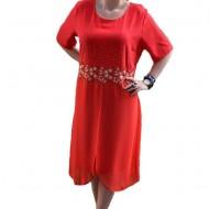 Rochie eleganta de nuanta rosie cu strasuri aplicate in fata