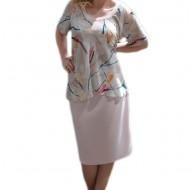 Rochie eleganta, design de doua piese, de culoare roz pudra