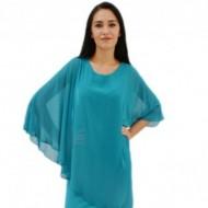 Rochie eleganta din material elastic si voal lejer aplicat, turcoaz