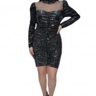 Rochie eleganta Ginette cu insertii de paiete,negru-argintiu