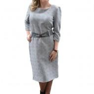 Rochie eleganta gri deschis, design deosebit cu paiete si curea