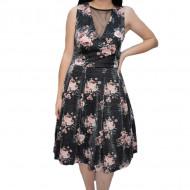 Rochie eleganta Linda cu sclipici si imprimeu floral,negru