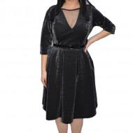 Rochie eleganta Tava,cu sclipici,negru-argintiu