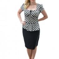 Rochie eleganta tip costum, de culoare negru-alb, cu buline mari