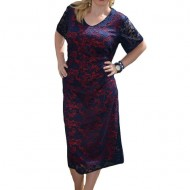 Rochie fashion de gala, dantela bleumarin cu captuseala rosie
