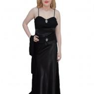 Rochie fashion de nuanta neagra, cu bretele subtiri in spate