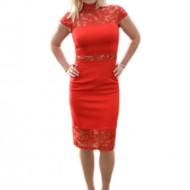Rochie fashion de ocazie, culoare rosie, cu insertii de dantela