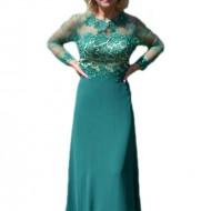 Rochie fashion de seara, verde, model lung cu broderie 3D