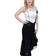 Rochie fashion doua piese, fusta neagra, asimetrica, corset alb