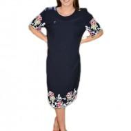 Rochie fashion masura mare, bleumarin cu design colorat