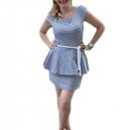 Rochie feminina, alb-bleumarin tip marinaresc