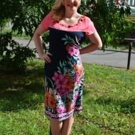 Rochie feminina, de culoare bleomarin-corai cu imprimeu floral