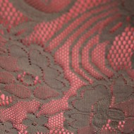 Rochie feminina, de culoare maro, imprimeu floral dantelat
