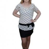 Rochie in nuante de negru si alb, design de buline