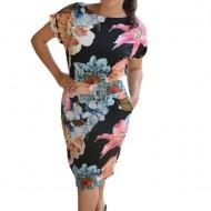 Rochie Ivana cu imprimeu floral rafinate ,multicolor,nuanta de negru