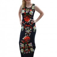 Rochie lunga de zi, culoare neagra cu imprimeu realist de flori